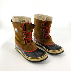 Sorel Brown Leather Waterproof Snow Boots